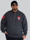 Red Roses Half Zip Fleece Jumper King Size Up to 5XL