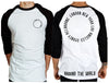 Around The World Raglan 3/4 Sleeve Tee | Chaotic Clothing Streetwear Tshirts - Shirts - Chaotic Clothing Streetwear Sydney Australia Street Style Plus Menswear