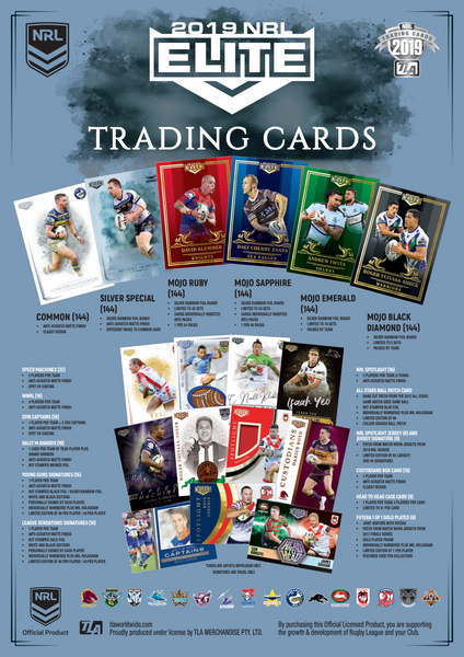 2019 esp TLA Elite Rugby League Trading Cards