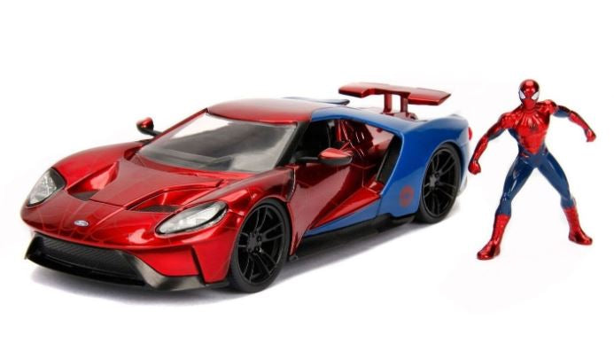 Spider-Man & 2017 Ford GT, Marvel Hollywood Rides, 1:24 Diecast Vehicle