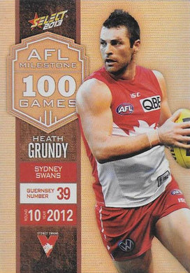 Heath Grundy, 100 Game Milestone, 2013 Select AFL Champions