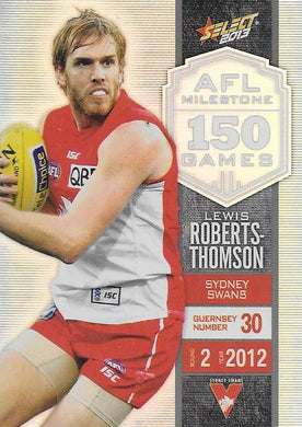Lewis Roberts-Thomson, 150 Game Milestone, 2013 Select AFL Champions