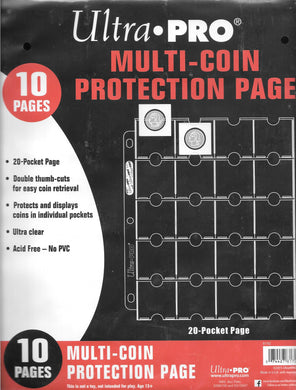 ULTRA PRO 20-POCKET COIN PAGE