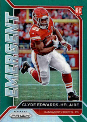Clyde Edwards-Helaire, Green Emergent, 2020 Panini Prizm Football NFL