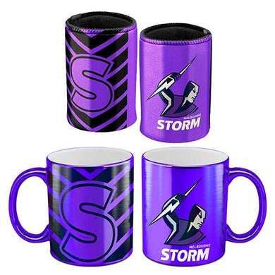 MELBOURNE STORM METALLIC CAN COOLER AND MUG PACK