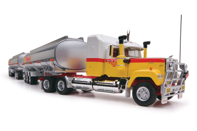Highway Replicas Truck, Shell Tanker Road Train PLUS Trailer with Dolly, 1:64 Diecast Vehicle