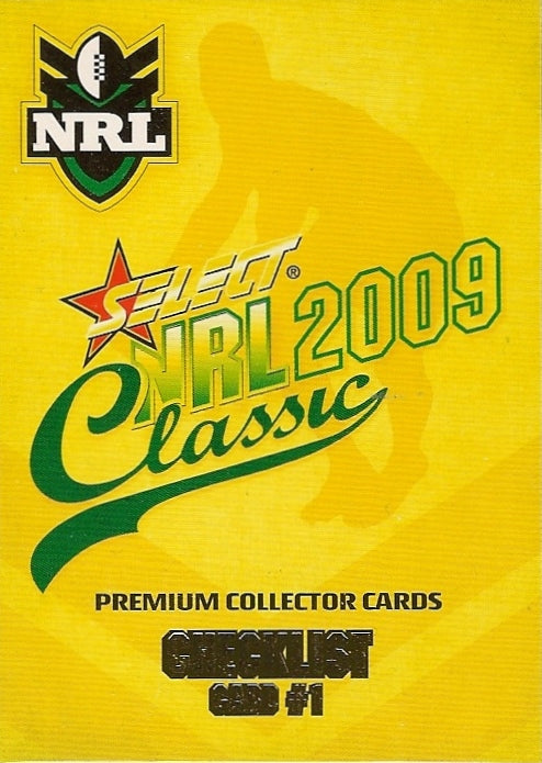 2009 Select NRL Classic Set of 195 Rugby League cards