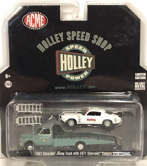 1971 Chevrolet Camaro w1967 Chev Ramp Truck, Holley Speed Shop, 1:64 Diecast Vehicle