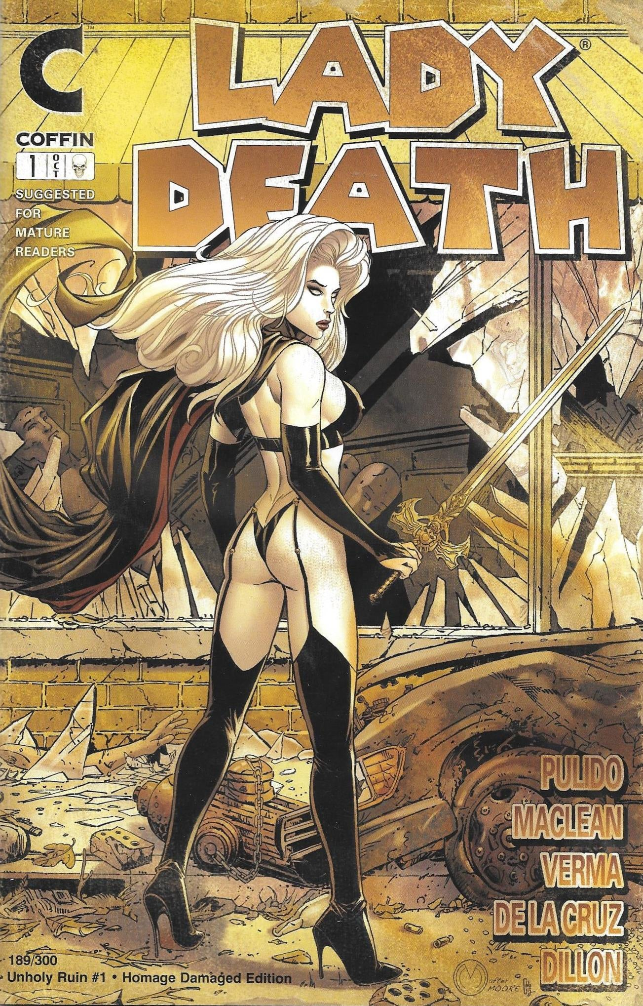 Lady Death Unholy Ruin #1 Homage Damaged Edition Comic