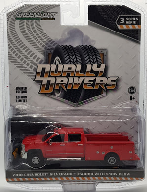 2018 Chevrolet Silvarado 3500HD with Snow Plow, Dually Drivers S3, 1:64 Diecast Vehicle