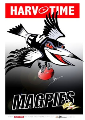 Collingwood Magpies, Mascot Harv Time Poster