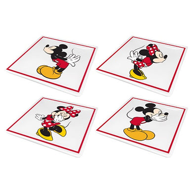 DISNEY MICKEY AND MINNIE SET OF 4 CERAMIC PLATES