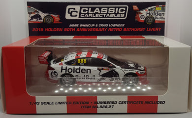 Classic Carlectables Jamie Whincup & Craig Lowndes' 2019 Holden 50th Anniversary Retro Bathurst Livery Red Bull Holden Racing Team 1:43 Diecast Model Car