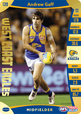 Andrew Gaff, Gold, 2019 Teamcoach AFL