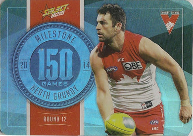 Heath Grundy, 150 Games Milestone, 2015 Select AFL Champions