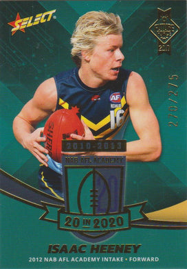 Isaac Heeney, 20 in 2020, 2017 Select AFL Future Force