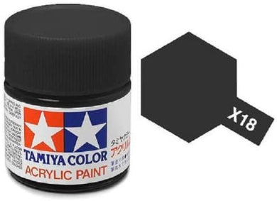 TAMIYA ACRYLIC MINI X-18 SEMI GLOSS BLACK 10ml