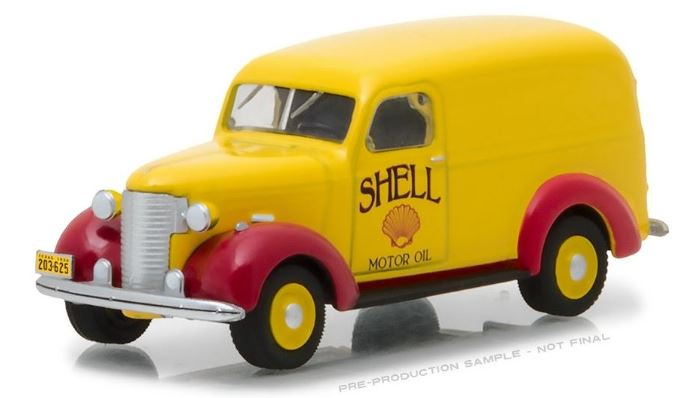 Shell Oil 1939 Chevrolet Panel Truck, Running on Empty Series, 1:64 Diecast Vehicle