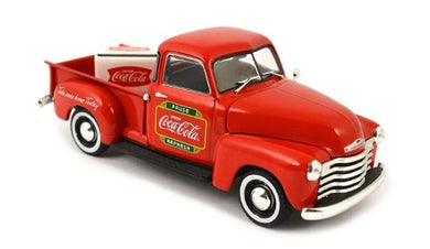 1953 Coca Cola Chevy Pickup with Metal Cooler, 1:43 Diecast Vehicle