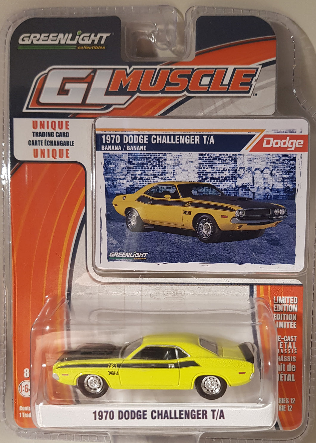 1970 Dodge Challenger T/A, Greenlight GL Muscle, 1:64 Diecast Vehicle
