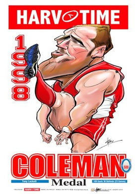 Tony Lockett, 1998 Coleman Medallist, Harv Time Poster