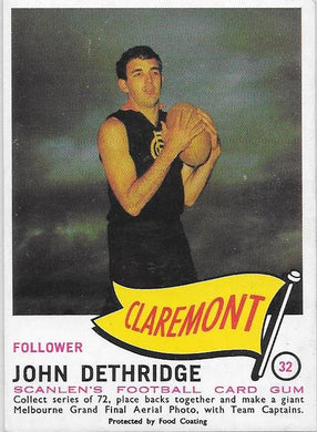 John Dethridge, 1966 Scanlens  VFL WAFL