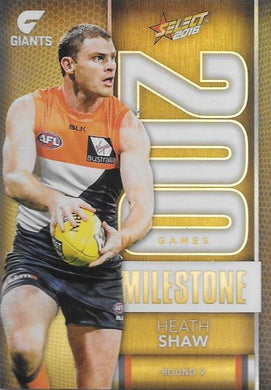 Heath Shaw, 200 Games Milestone, 2016 Select AFL Footy Stars