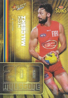 Nick Malceski, 200 Games Milestone, 2017 Select AFL Footy Stars