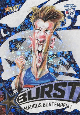 Marcus Bontempelli, Team Logo Starburst Caricatures, 2019 Select AFL Footy Stars