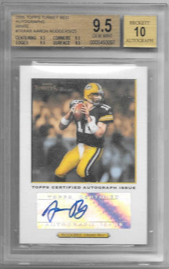 Aaron Rodgers, RC, Autographs White /25, 2005 Topps Turkey Red NFL, BGS 9.5