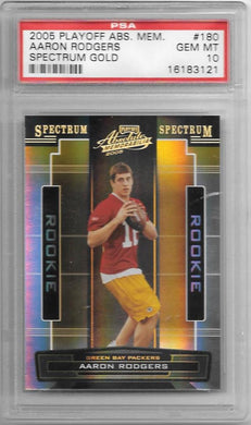 Aaron Rodgers, RC, Spectrum Gold 12/25, 2005 Playoff Absolute NFL, PSA 10