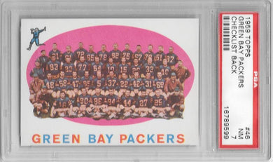 Green Bay Packers Checklist Back, 1959 Topps NFL, PSA 7