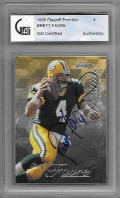 Brett Favre, SIgned 1998 Playoff Prestige, GAI Certified Authentic