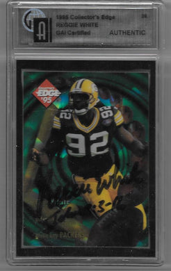 Reggie White, SIgned 1995 Collectors Edge Tech, GAI Certified Authentic