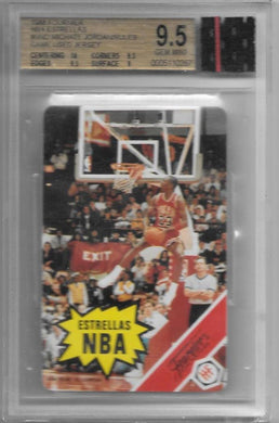Michael Jordan, with GU Jersey, 11988 Fournier NBA Estrellas, BGS 9.5