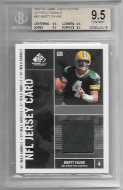 Brett Favre, SP Field Fabrics NFL Jersey Card, 2003 SP Game Used Edition, BGS 9.5