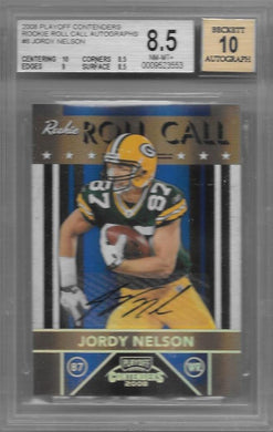 Jordy Nelson, Rookie Roll Call Autographs /25, 2008 Playoff Contenders NFL, BGS 8.5
