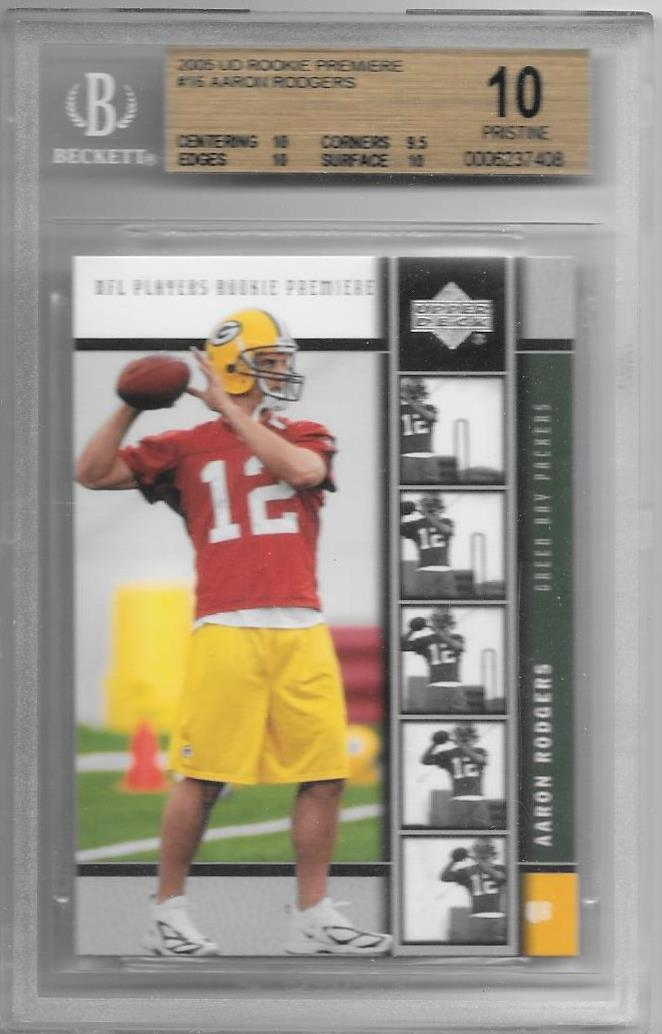 Aaron Rodgers, RC, 2005 UD Rookie Premiere NFL, BGS 10