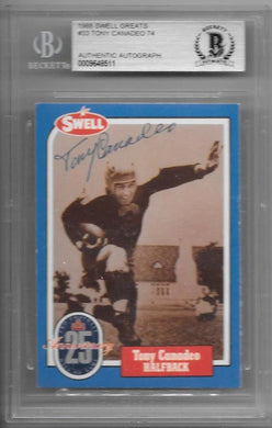 Tony Canadeo, Hand Signed. 1988 Swell Greats, BGS Authentic