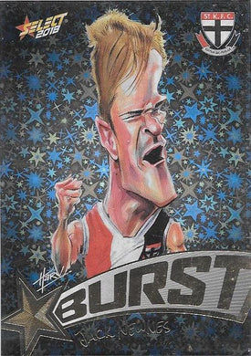 Jack Newnes, Starburst Black Caricatures, 2018 Select AFL Footy Stars