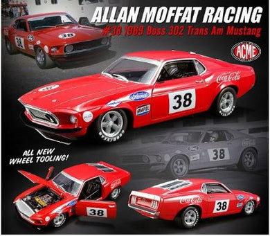 Allan Moffat Racing #38 Coca Cola, 1969 Boss 302 Trans Am Mustang, 1:18 Diecast Model Car