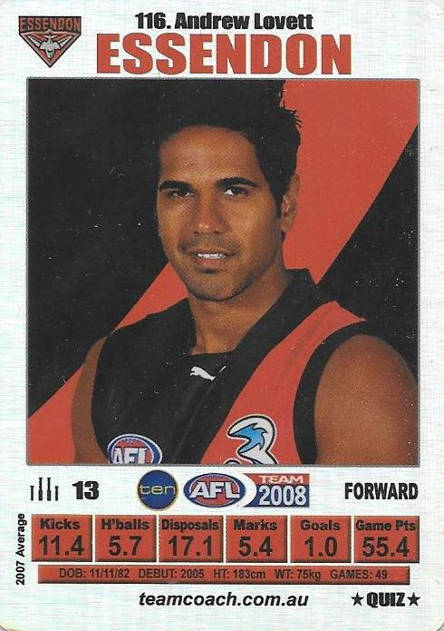 Andrew Lovett, Silver Quiz card, 2008 Teamcoach AFL