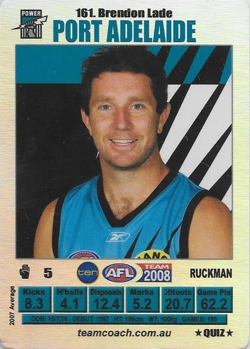 Brendon Lade, Silver Quiz card, 2008 Teamcoach AFL
