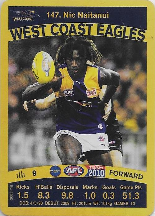 Nic Naitanui, Gold card, 2010 Teamcoach AFL