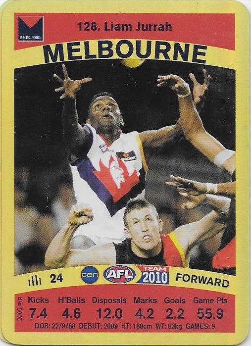 Liam Jurrah, Gold card, 2010 Teamcoach AFL