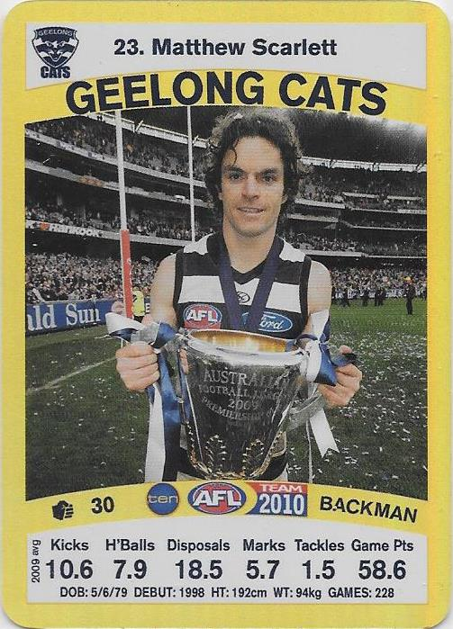 Matthew Scarlett, Gold card, 2010 Teamcoach AFL