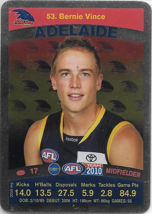 Bernie Vince, Silver card, 2010 Teamcoach AFL