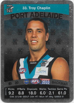 Troy Chaplin, Silver card, 2010 Teamcoach AFL