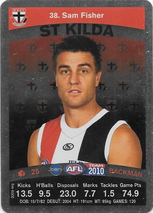 Sam Fisher, Silver card, 2010 Teamcoach AFL