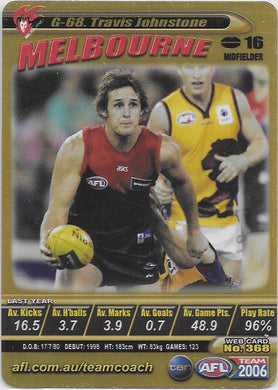Travis Johnstone, Gold card, 2006 Teamcoach AFL